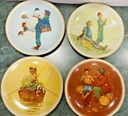 Norman Rockwell Plates 1976 Four Seasons Set Of Four Gorham China Made In Usa