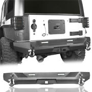 Rear Bumper W/ Led Floodlight D-ring And Hitch Receiver For Jeep Wrangler Jk 07-18
