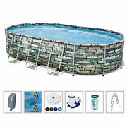 Bestway Power Steel Comfort Jet Series 20and039x12and039x48 Oval Above Ground Pool Set