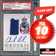 2012 National Treasures 301 Andrew Luck Rc Rookie Rpa Patch Auto /99 Psa 10 Gem