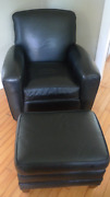 Club Chair Of Black Leather With Ottoman From Ethan Allen