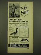 1951 Dunster Dupe-a-goose Decoys Ad - Double On Honkers