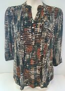 Nwt Ladies Cocomo Multicolor Black/brown Pin-tuck Pleated Front Pockets Blouse