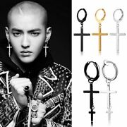 Fashion Stainless Steel Earring Stud With Cross Charm For Guys Men Jewelry Gifts