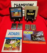 Atari 5200 Game And Overlay Lot Gorf And Space Invaders Tested W/ Manuals