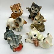Vintage Kitsch Kitten Cat China Ornaments Collection C1950s 1960s Set Of 6