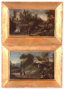 Baroque Landscapes Two Austrian Oil On Tin Miniatures 18th Century