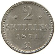 Norway 2 Ore 1871 Unc Top Quality Rare T55 425