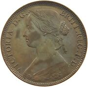 Great Britain Penny 1860 Victoria Top Shiny Fields T138 015