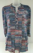 Nwt Cocomo Red White And Blue Pin Tucked Pleated 3/4 Sleeve Studded Blouse