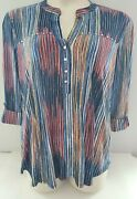 New Cocomo Ladies Multi Striped Blouse Pin-tucked Pleated Studded 3/4 Sleeves