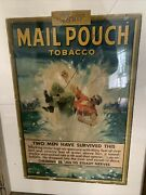 """Vintage Mail Pouch Snuff Tobacco Cardboard Two Men Survived Sign Rare 36x28"""""""