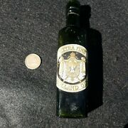 Antique Gin Bottle With Label - Old Crude Lip Whiskey Bottle