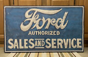 Ford Sales Service Sign Vintage Style Wall Decor Tools Parts Gas Oil Canvas