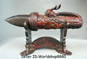 15.6 Old China Ox Horn Carved Dynasty Dragon Head Writing Brush Pen Base Statue