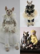 Hand-painted Collectible Dolls Sphynx Cats Marble Chips Interior Toys 50 Cm
