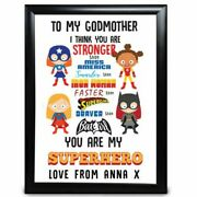 Personalised Gifts Godmother Birthday Christening Framed Card Present Gift Hero