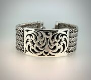 Vintage Lois Hill Sterling Silver Bracelet With Art Deco Plate And Toggle Clasp