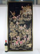 Antique Large Chinese Asian Silk Framed Embroidery Panel Folk Art People