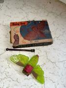 Old Vintage Plastic Busy Bee Noise Maker Butterfly Toy In Box From India 1950