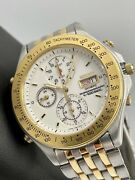 Extremely Rare Seiko Olympic Chronograph 7t59-7a20 Gold Steel 1991 Quartz