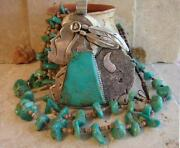 And039buffalo Hunterand039 Huge Early Dan Nieto Turquoise Sterling Pendant Necklace 237 Gr