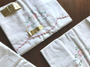 Vintage Unused Lot Embroidered White Cotton Pair Pillowcases And Bolster Case