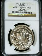 China 1986 5y Silver World Wildlife Fund Ngc Ms-69