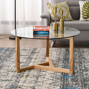 Round Coffee Table Modern Living Room Furniture Oak With Clear Tempered Glass