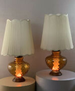 Pair Vintage Mid Century Retro Amber Glass Light Up Base Lamps Pearsall Era