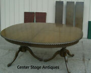 61183 Antique Solid Mahogany Dining Table W/ 3 Leafs  96 X 48 X 30h + Pads