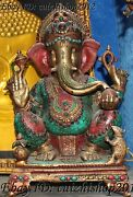 17 Tibet Turquoise Coral Bronze Mouse 4 Arms Elephant Mammon God Buddha Statue