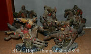 13 Old Chinese Wucai Porcelain Five Tiger Generals Soldier Warrior Sculptures