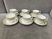 Vintage English Bone China Set Of 6 Cups And Saucers W/ Green And Floral Decoration