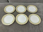 Vintage English Bone China Set Of 6 Plates W/ Green And Floral Decoration 6 1/2
