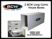 2 Bcw Quality Long Comic Book Storage House Box Thick/stackable White Cardboard