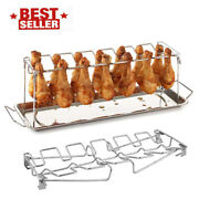 Bbq Beef Chicken Leg Wing Grill Rack 14 Slots Stainless Steel With Drip Pan