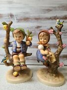 Vintage Hummel Figurine Apple Tree Boy And Girl 6 Inches High