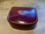 Vintage Genuine Leather Made In Italy Trinket Jewelry Box Painted Shields On Top