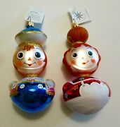 Christopher Radko 1996 Ragamuffins 2 Christmas Ornaments..raggedy Ann And Andy