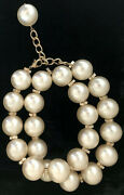 Pearl Bead Necklace Belt White Large Gold Tone 2013 Spring 30 In