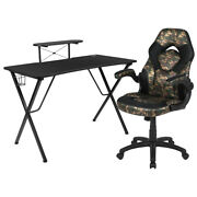 Flash Furniture Black Gaming Desk And Camouflage/closer Monitor/smartphone Stand