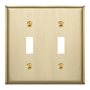 Enerlites Double Toggle Switch Metal Cover Stainless Steel Wall Plate 2 Gang