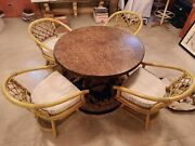 Vintage Ficks Reed Rattan Bamboo Table And 4 Swivel Chairs Set = New Cushions