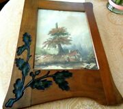 Antique Watercolor Painting Signed Dated Carved Oak Leaves Acorn Wood Frame