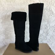 Ugg Classic Femme Over The Knee Black Suede Fur Wedge Tall Boots Size 7 Women