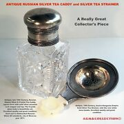 Antique Russian Silver Tea Caddy And Silver Tea Strainer Set / 19th Century