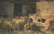 Monogrammed V - Girl In Bed With Dog Surrounded From Sheep
