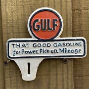 Vintage Gulf Gasoline Sign Cast Iron Metal License Plate Topper Gas Advertising