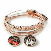 New Disney Parks Alex And Ani Don't Mess With The Bow Rose Gold Bracelet 3pc Set